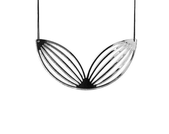 Necklace Mutation 02 - lotus - silver mirror - statement jewellery - contemporary jewelry - minimalist - graphic - lasercutting - acrylic