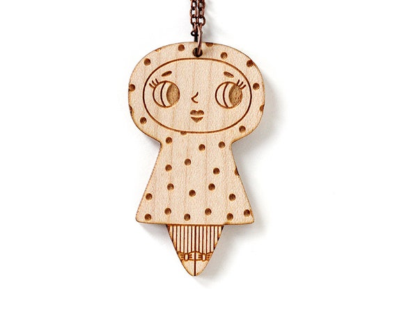 Wooden doll necklace with dots pattern - cute pendant - illustrated jewelry - kawaii doll - lasercut wood