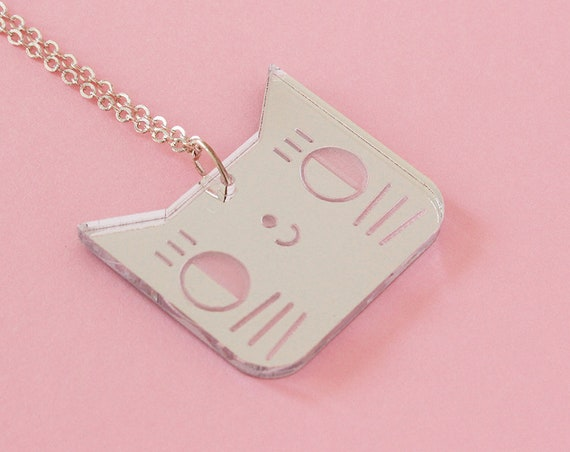 Cat necklace - kitten pendant - lasercut acrylic mirror - cute animal jewelry - graphic illustrated jewellery - kawaii pendant