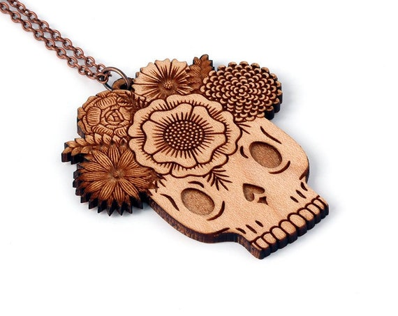 Vanitas necklace - mexican sugar skull - calavera pendant with flowers - dia de los muertos jewelry - catrina jewellery - lasercut wood
