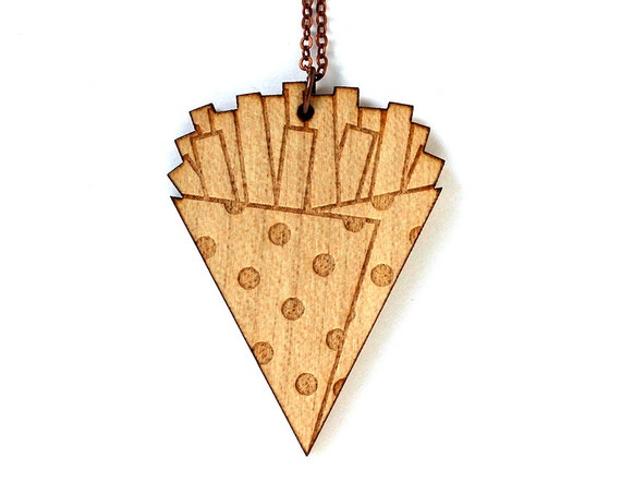 French fries necklace - kitsch food pendant - funny jewelry - lasercut maple wood - graphic illustrated jewellery - wood accessory