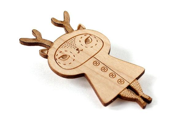 Deer brooch - reindeer pin - cute doe jewelry - illustrated fawn jewelry - kawaii animal - doll jewellery - lasercut wood - lasercutting