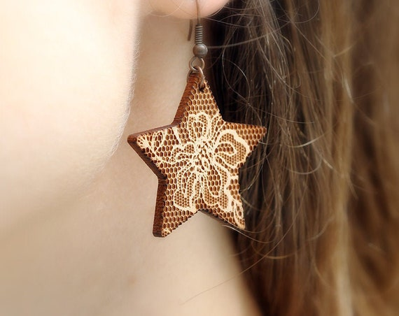 Star dangle earrings with lace pattern made in lasercut wood - romantic jewelry - wedding gift - bride or bridesmaid accessory
