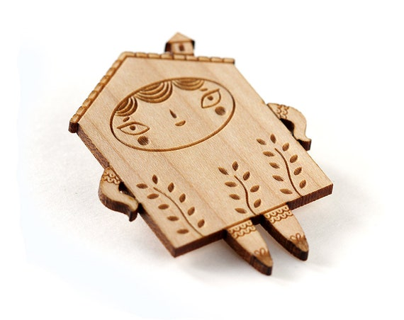 Wooden miniature house brooch with plants - lasercut wood pin - cute jewelry - kawaii accessory - gift for architect - architecture lover