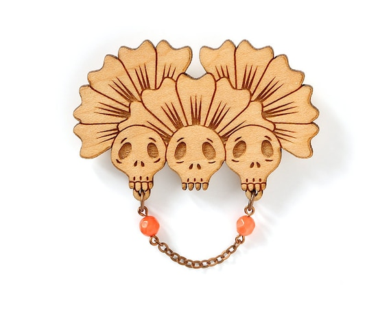 Three skulls brooch with flowers - chain and beads - wooden gothic pin - goth accessory - halloween dark jewelry - lasercut wood jewellery