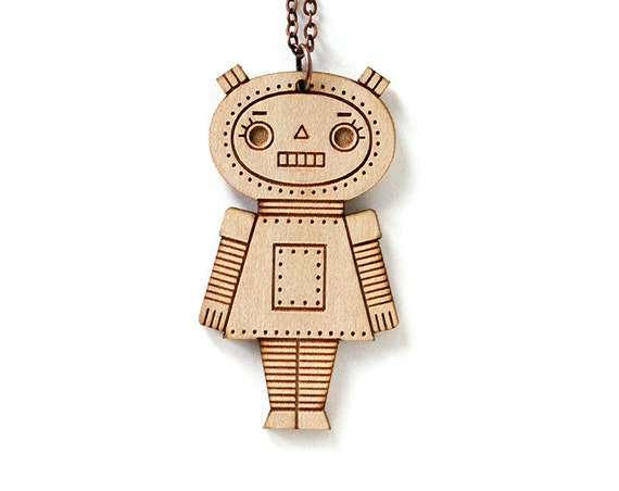Robot girl pendant - cute doll necklace - cute wooden jewelry - geek jewellery - lasercut wood - lasercutting
