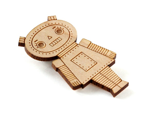 Wooden doll brooch - Robot girl pin - lasercut wood - geek pin - retro robot - cute kawaii wooden jewelry - geek jewellery - lasercutting