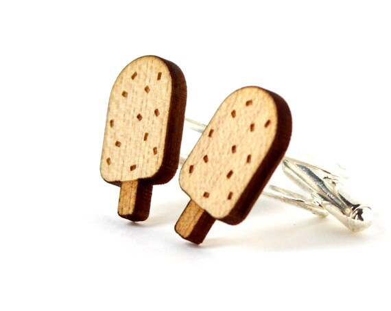 Ice cream cufflinks - wooden accessory for the groom - best man jewelry - lasercut maple wood - graphic kitsch summer wedding jewelry