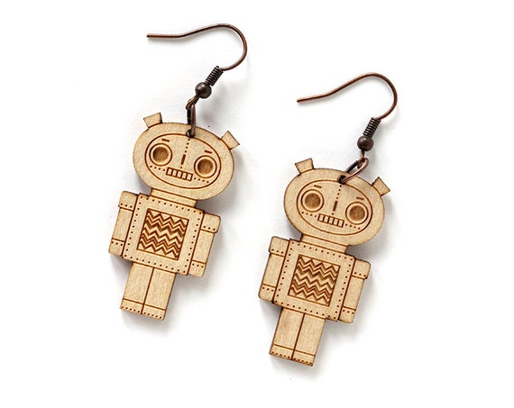 Wooden robot earrings - lasercut maple wood - geek earrings - robotic doll jewelry - lasercutting