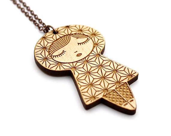 Wooden doll necklace - Asanoha pendant - kokeshi - matriochka jewelry - japanese pattern - graphic Russian doll - lasercut maple wood