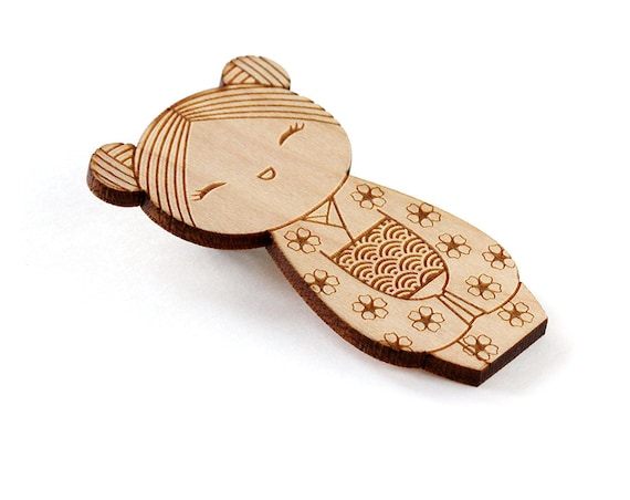 Wooden doll brooch - kokeshi - Japanese doll pin - cute wooden jewelry - illustrated kawaii - lasercut wood - sakura - seikaiha