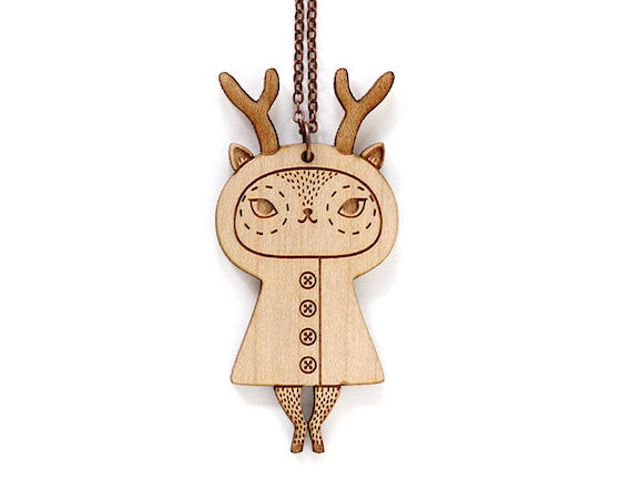 Lasercut wood whimsical creature pendant - reindeer necklace - cute doe jewelry - kawaii deer jewellery - lasercutting