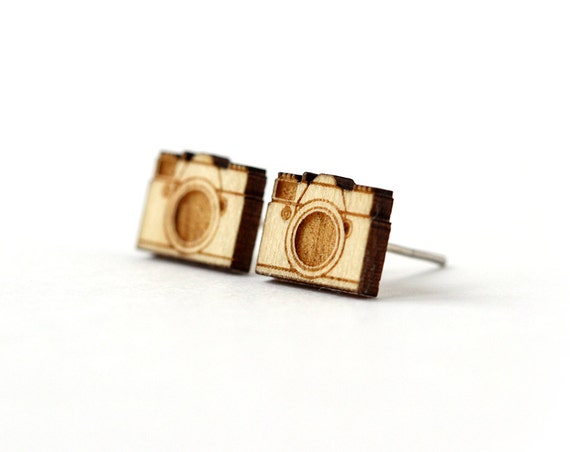 Camera studs - retro posts - tiny earrings - mini jewelry - photographer jewellery - lasercut maple wood - hypoallergenic surgical steel