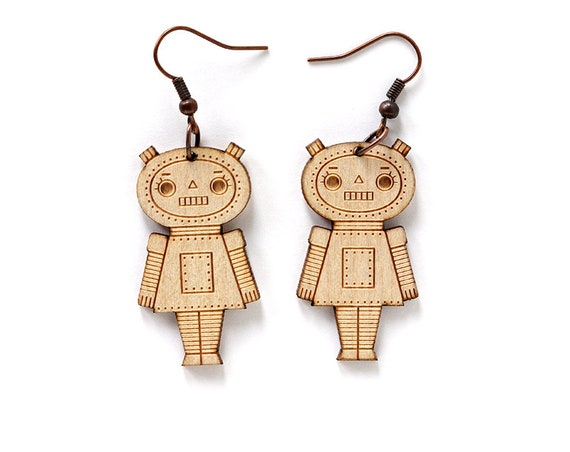 Wooden girl robot earrings - lasercut maple wood - geek earrings - robotic doll jewelry - lasercutting