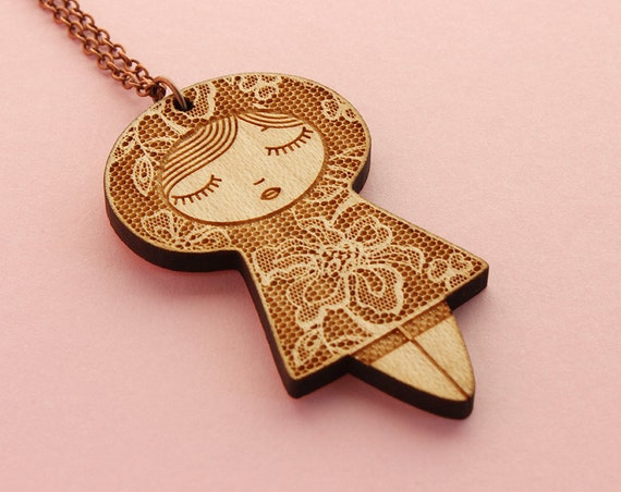 Wooden doll pendant with lace pattern -  lasercut wood necklace - romantic jewelry - matriochka jewellery - kokeshi - cute accessory