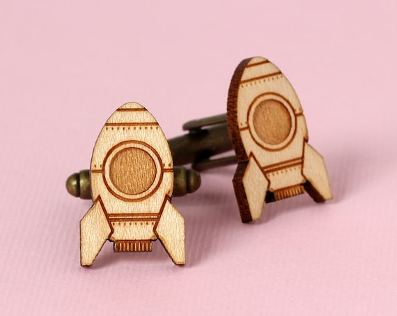 Retro rocket cufflinks made of lasercut wood - spaceship accessory - wooden jewelry - gift for men - science fiction wedding complement