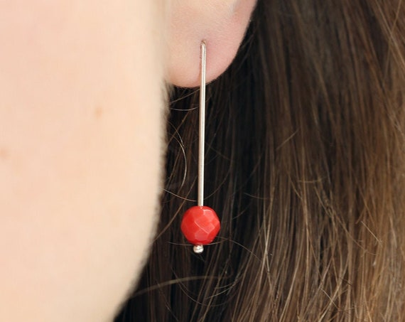 Minimalist red coral and sterling silver earrings - nickel free wires - contemporary design - modern gift for her - timeless wedding jewelry