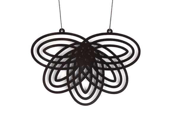 Black statement necklace - abstract flower - Mutation 07 - contemporary jewelry - minimalist - designer accessory - lasercut acrylic