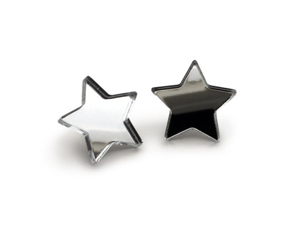 Mirror star studs - silver star earrings - romantic tiny jewelry - lasercut acrylic mirror - hypoallergenic surgical steel posts