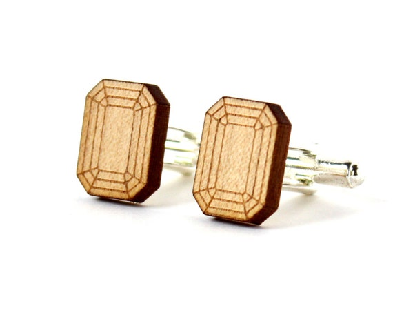 Emerald cufflinks - fake stone cufflinks - lasercut maple wood - trompe-l'œil jewelry - for the groom - wedding accessory for men