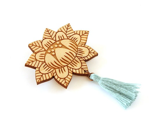 Flower brooch with tassel - light teal - wooden floral pin - stylized vegetal jewelry - folk jewellery - lasercut wood accessory