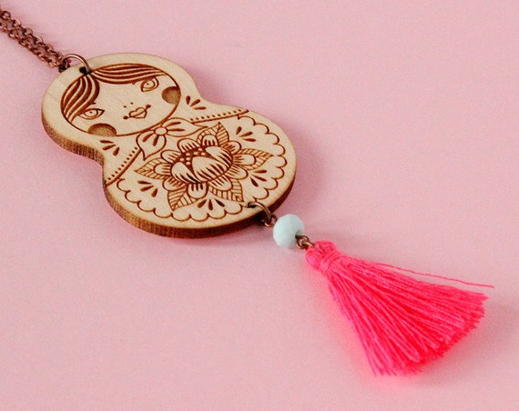 Matryoshka necklace with tassel - neon pink tassel - Russian doll pendant - lasercut wood jewelry - folk jewellery - wood accessory
