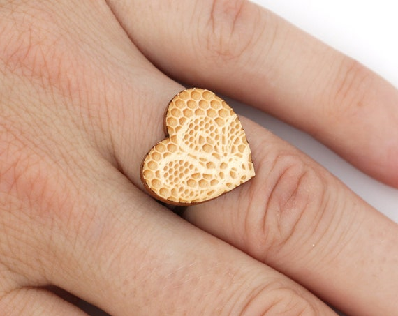 Heart shaped adjustable ring with lace pattern made in lasercut maple wood - romantic jewelry - Valentine gift - bridesmaid accessory