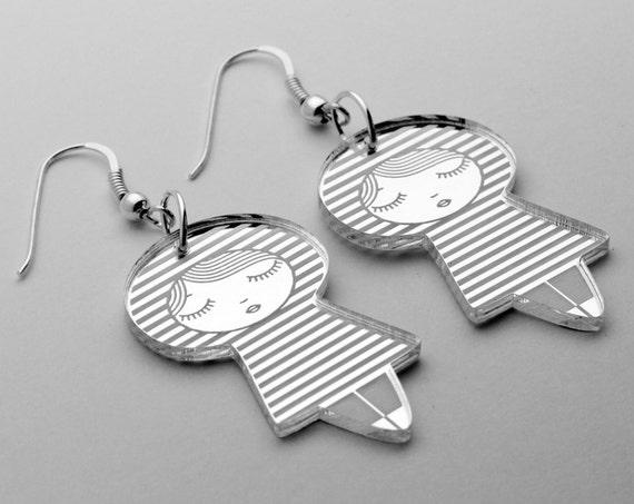 Doll earrings with striped pattern - sailor - cute matriochka jewelry - kawaii kokeshi jewellery - sterling silver - lasercut acrylic mirror