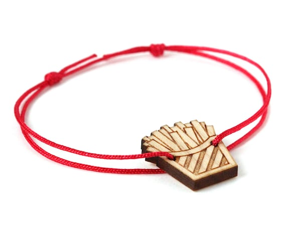 Fries bracelet - 25 colors - graphic food - chips bangle - adjustable length - lasercut wood - custom jewelry - best friend gift for her