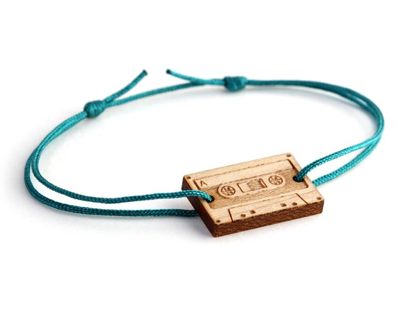 Audiotape bracelet - 25 colors - graphic retro audio tape bangle - adjustable length - lasercut maple wood - minimalist jewelry - unisex
