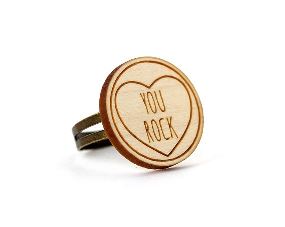 "Ring with heart and message ""You rock"" - romantic jewelry - graphic jewellery - Valentine's gift - engagement ring - lasercut maple wood"