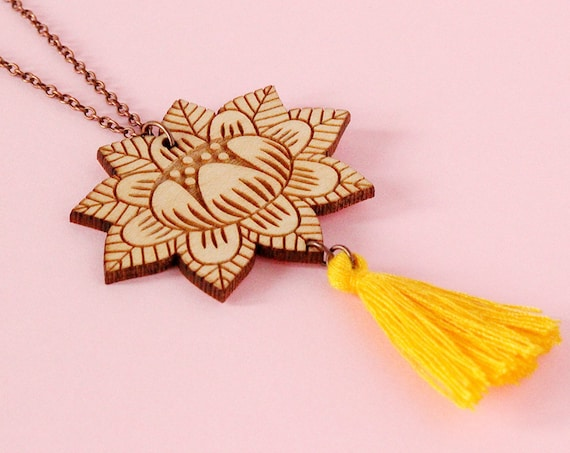 Wooden flower necklace with yellow tassel - lasercut wood pendant - stylized floral jewelry - folk accessory