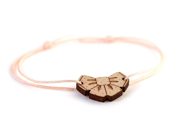 Adjustable wooden Bowtie bracelet - customizable color - lasercut wood - bow tie bangle - cute jewelry for little girl - kawaii gift for her