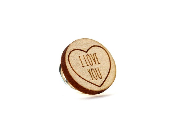 """Pin with message """"I love you"""" - graphic brooch - romantic accessory - not another enamel pin - graphic accessory - lasercut maple wood"""