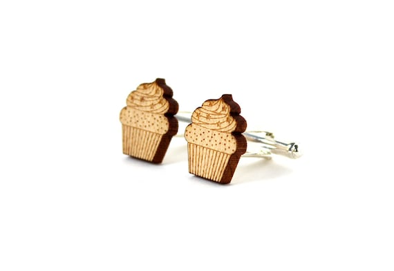 Cupcake cufflinks - cake cuffs - pastry accessory - lasercut maple wood - graphic food accessory - kitsch wedding jewelry - groom - bestman