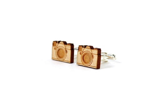 Camera cufflinks - graphic vintage cufflinks - wedding accessory - groom gift - bestman - man - photographer - lasercut maple wood
