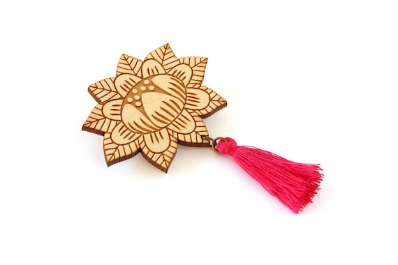 Flower brooch with tassel - fuchsia - wooden floral pin - stylized vegetal jewelry - folk jewellery - lasercut wood accessory