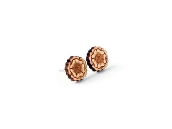 Flower studs - floral earrings - mini earrings - post earring - fall jewellery - autumn jewelry - lasercut wood - Botanica