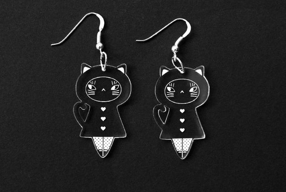 Cat doll earrings - kawaii kitten earrings - matriochka jewelry - kokeshi jewellery - sterling silver findings - lasercut clear acrylic