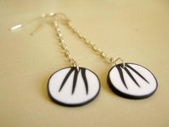 Beardsley graphic earrings, sterling silver findings