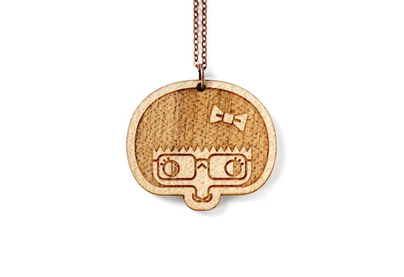 Esther necklace - lasercut wood pendant - geek girl - cute hipster character - illustrated jewelry necklace - graphic maple jewellery