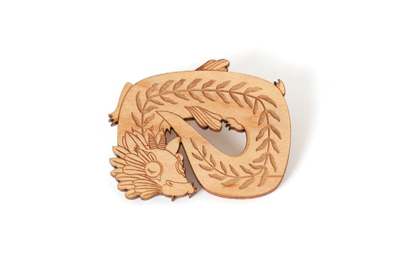 Dragon brooch made of lasercut wood - fantastic animal pin - fantasy beast jewelry - creature accessory
