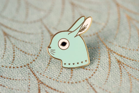Cute rabbit pin in gold metal and mint green resin - adorable bunny brooch - animal jewelry - kid accessory - easter gift