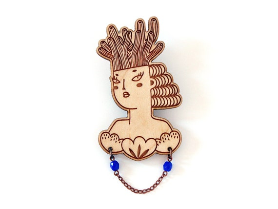 Mermaid brooch - wooden pin - cobalt blue necklace - woman with coral on her head and shell on her chest - lasercut jewelry - wood jewellery