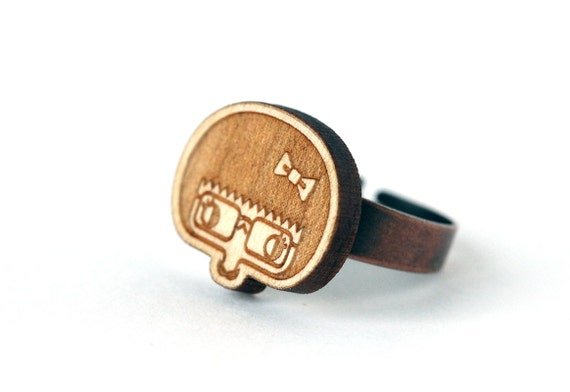 Esther ring - geek girl jewelry - cute graphic character - illustrated jewellery - lasercut maple wood - lasercutting