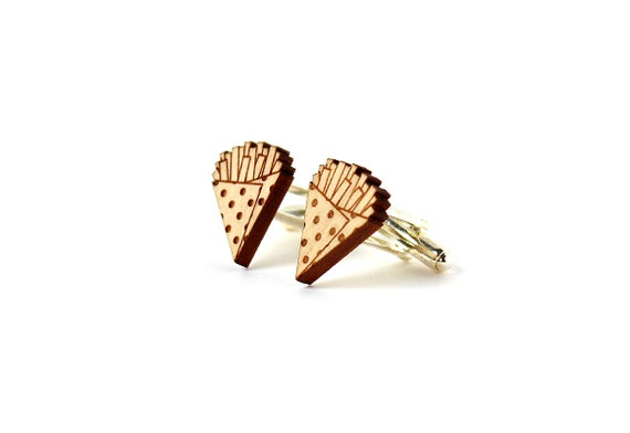 French fries cufflinks - chips cuffs - kitsch jewelry for man - wedding accessory - lasercut maple wood - gromm - bestman