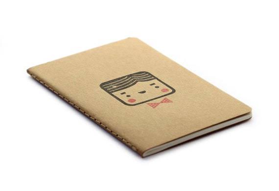 Cute Moleskine notebook Monsieur - Handstamped with cute character illustration - A6 / small