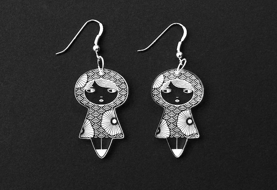 Seigaiha doll earrings with flowers - kokeshi earrings - cute matriochka jewelry - Japanese scallops - lasercut acrylic - sterling silver