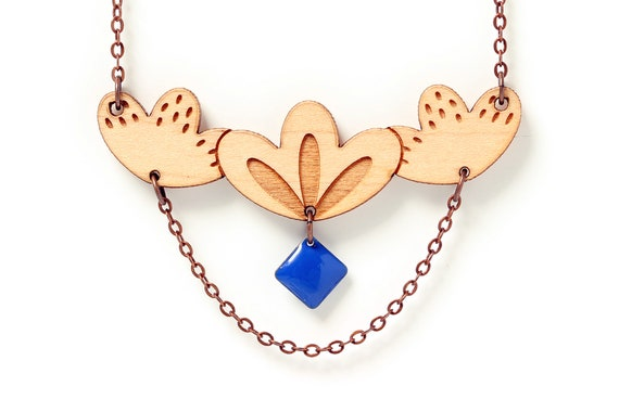 Statement floral necklace in lasercut wood with chain and cobalt sequin - 9 different colors - wooden fall jewelry designer gift