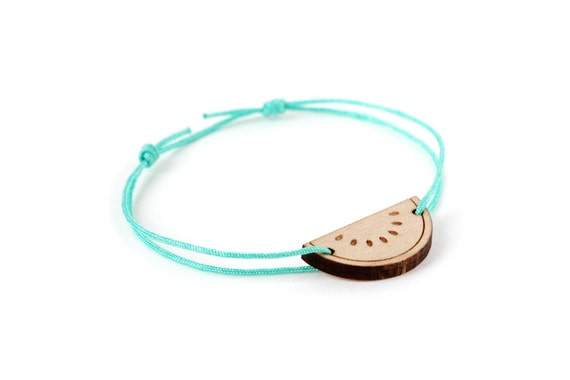 Watermelon bracelet - 25 colors - summer fruit bangle - adjustable length - lasercut maple wood - graphic jewelry - customizable